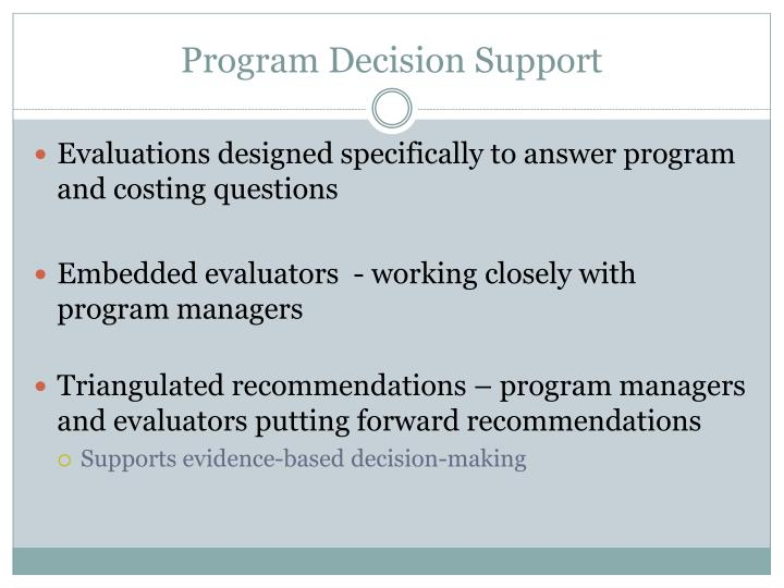 Program Decision Support