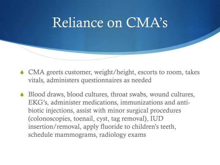 Reliance on CMA's