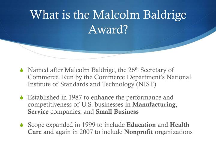 What is the malcolm baldrige award
