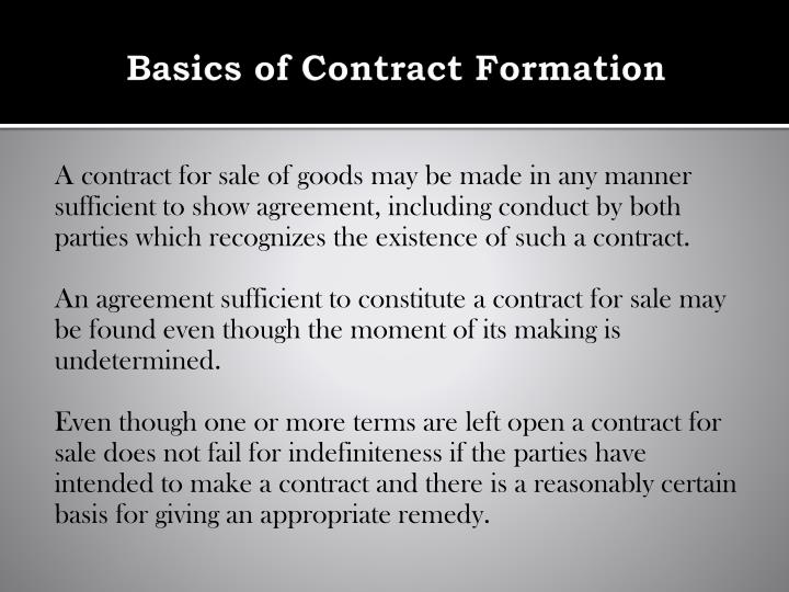 Basics of Contract Formation