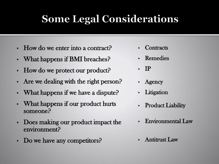 Some Legal Considerations
