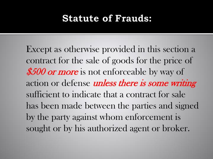 Statute of Frauds:
