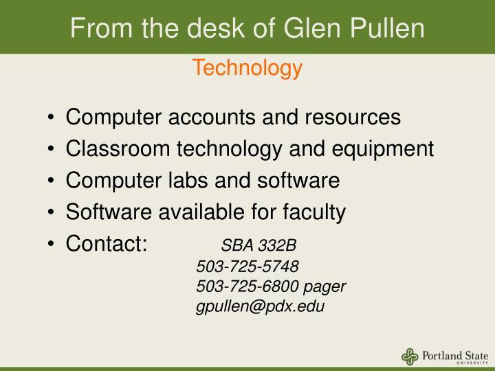 From the desk of Glen Pullen