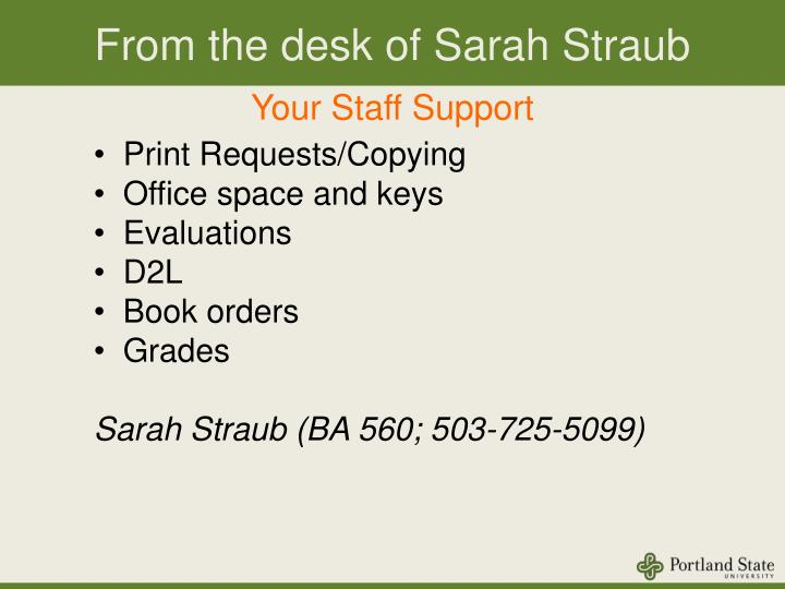 From the desk of Sarah Straub