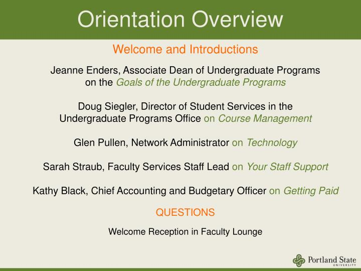 Orientation overview
