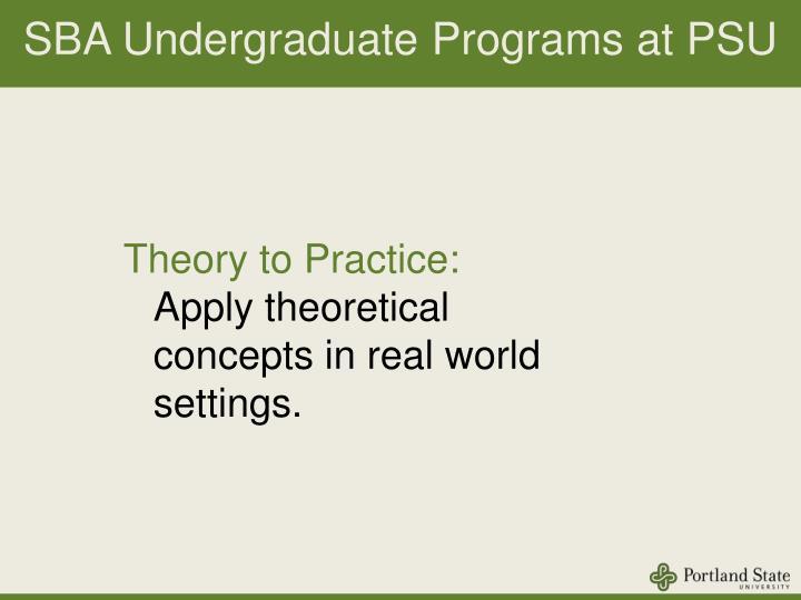 SBA Undergraduate Programs at PSU