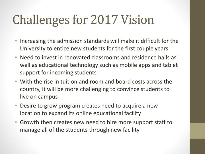 Challenges for 2017 Vision