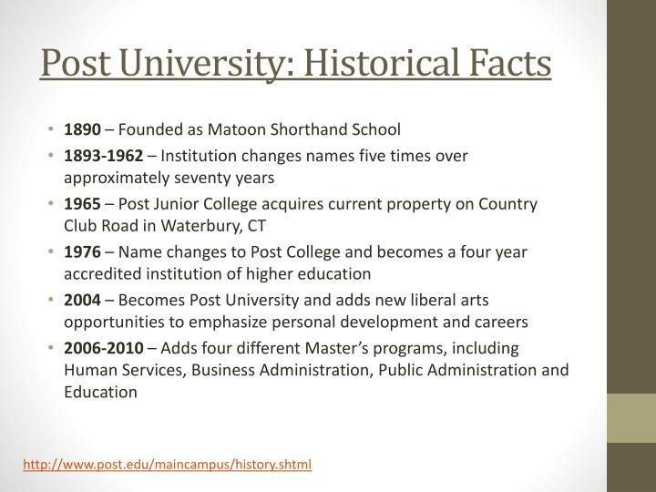 Post university historical facts