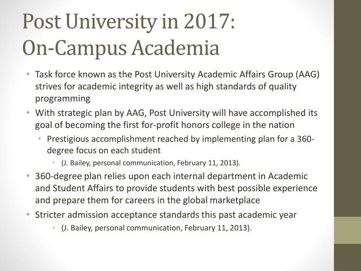 Post University in 2017:
