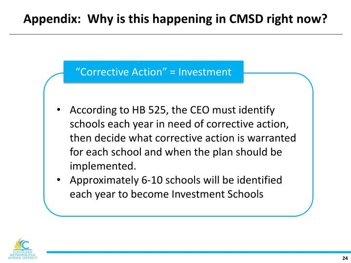 Appendix:  Why is this happening in CMSD right now?