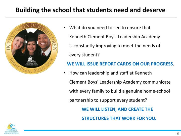 Building the school that students need and deserve