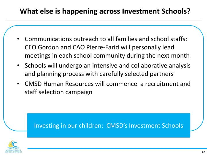 What else is happening across Investment Schools?
