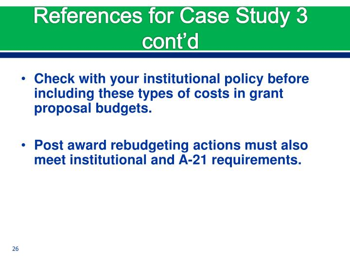 References for Case Study 3 cont'd