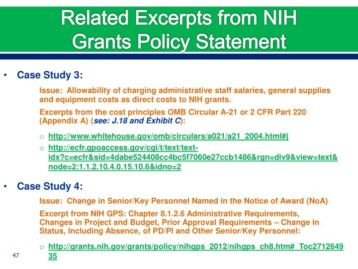 Related Excerpts from NIH