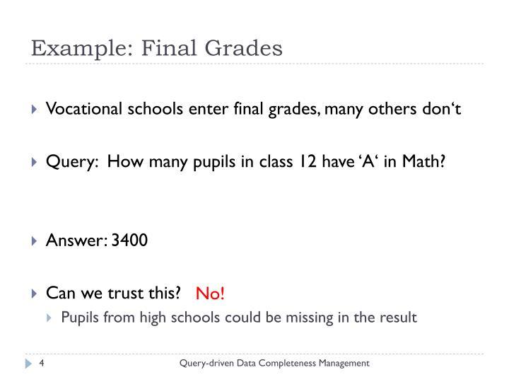 Example: Final Grades