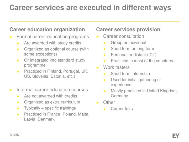 Career services are executed in different ways