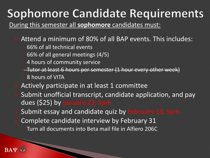 Sophomore Candidate Requirements