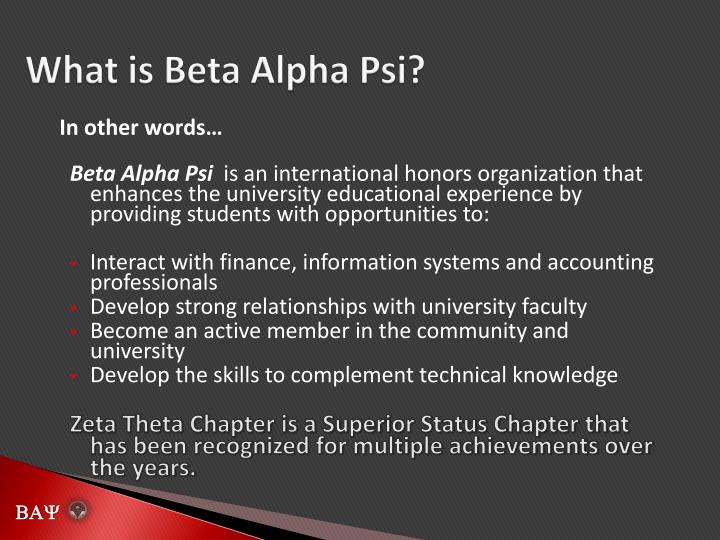 What is Beta Alpha Psi?