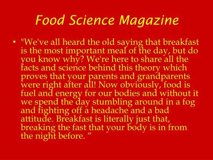 Food Science Magazine