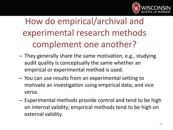 How do empirical/archival and experimental research methods complement one another?