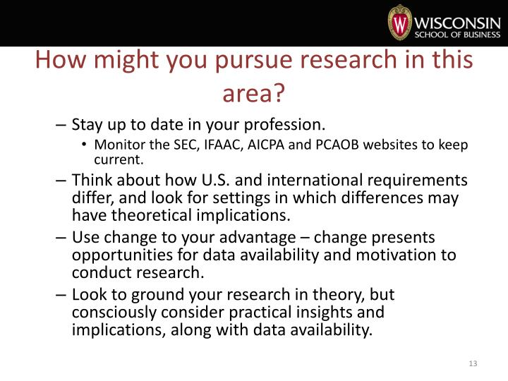 How might you pursue research in this area?