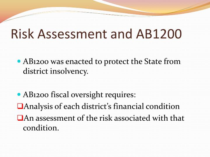 Risk Assessment and AB1200