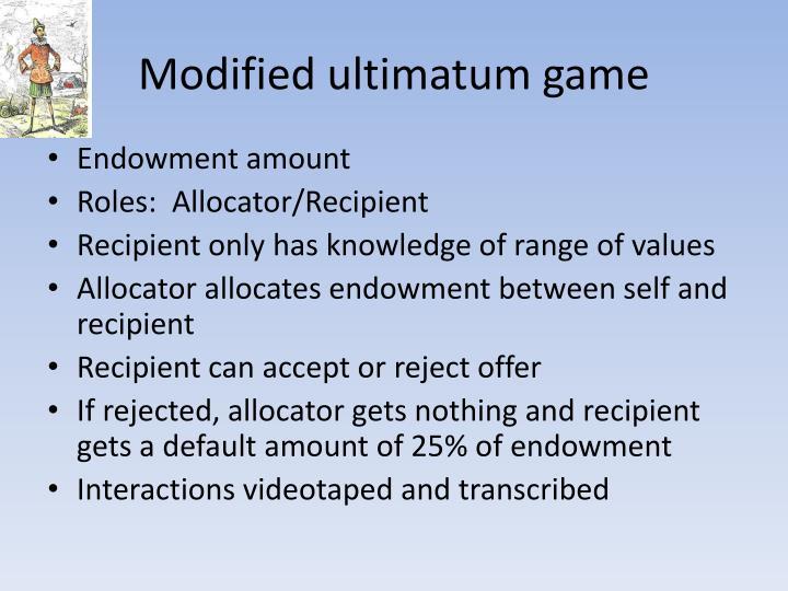 Modified ultimatum game