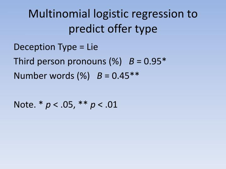 Multinomial logistic regression to predict offer type