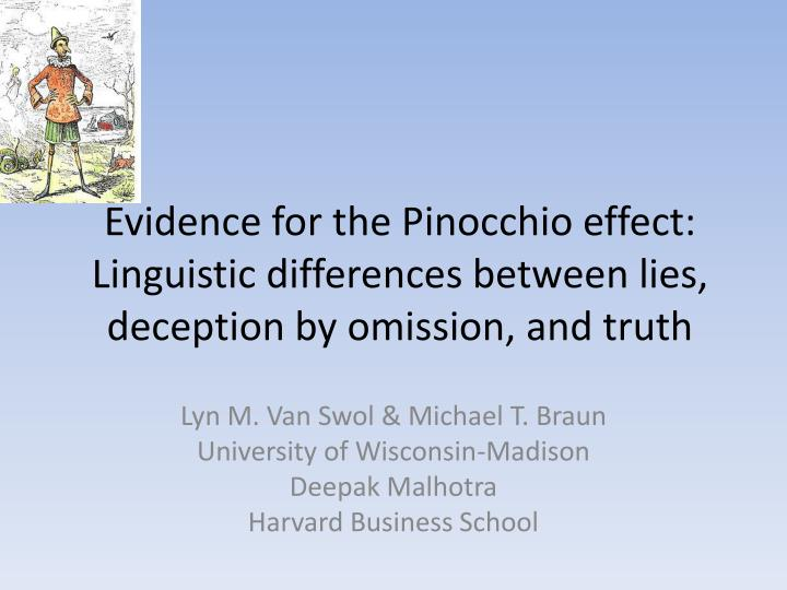 Evidence for the Pinocchio effect: Linguistic differences between lies, deception by omission, and t...