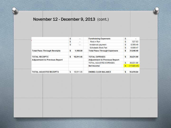 November 12 - December 9, 2013