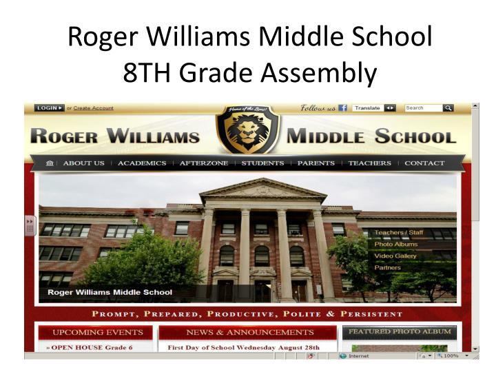 Roger williams middle school 8th grade assembly