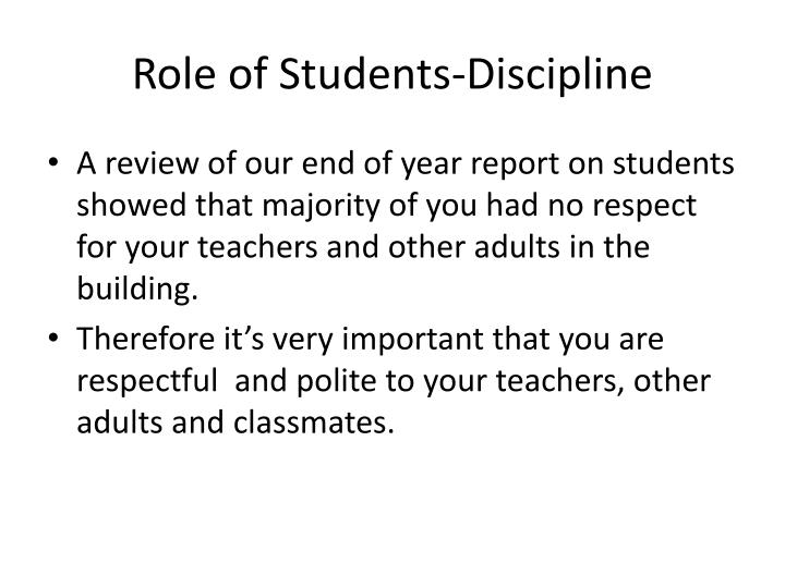 Role of Students-Discipline