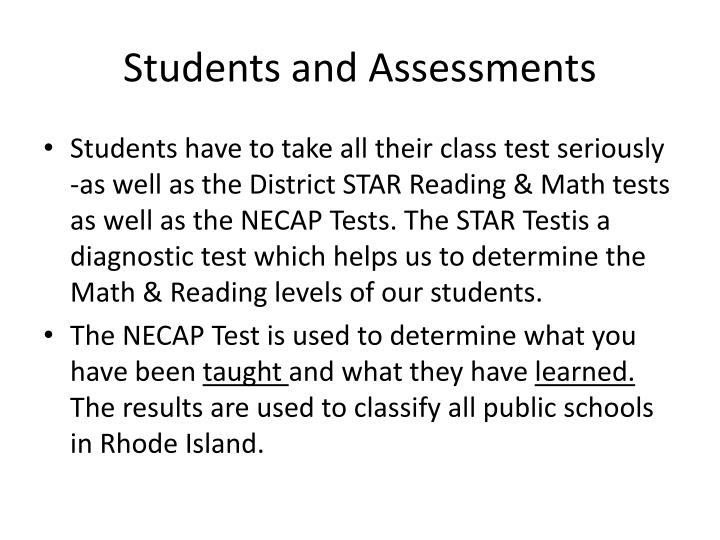 Students and Assessments