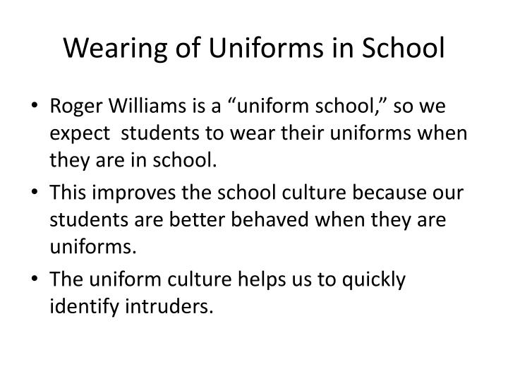 Wearing of Uniforms in School