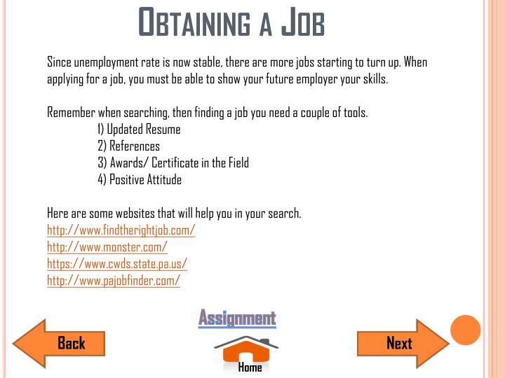 Obtaining a Job