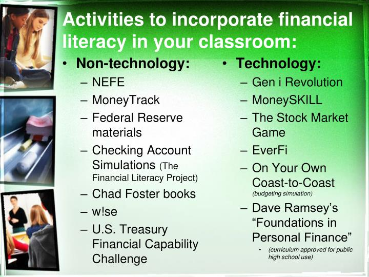 Activities to incorporate financial literacy in your classroom: