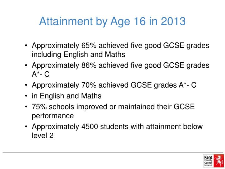 Attainment by Age 16 in 2013