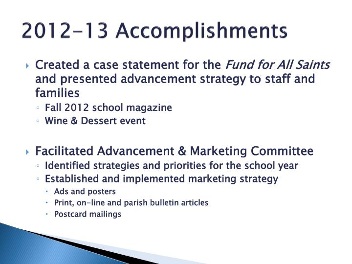2012-13 Accomplishments