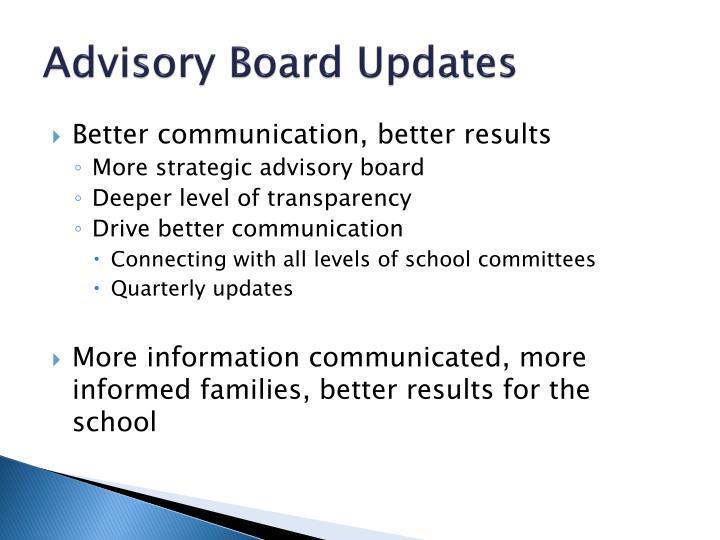 Advisory Board Updates