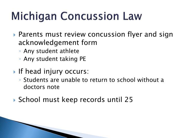 Michigan Concussion Law
