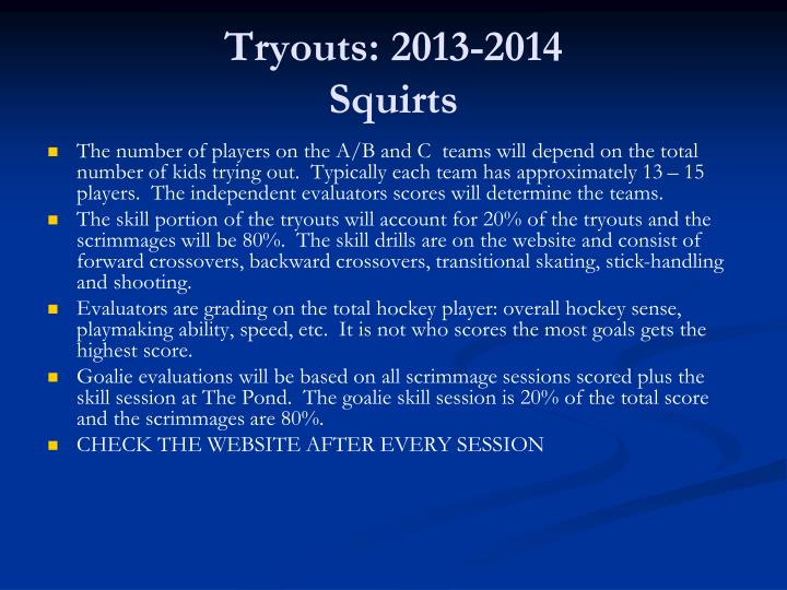Tryouts: 2013-2014