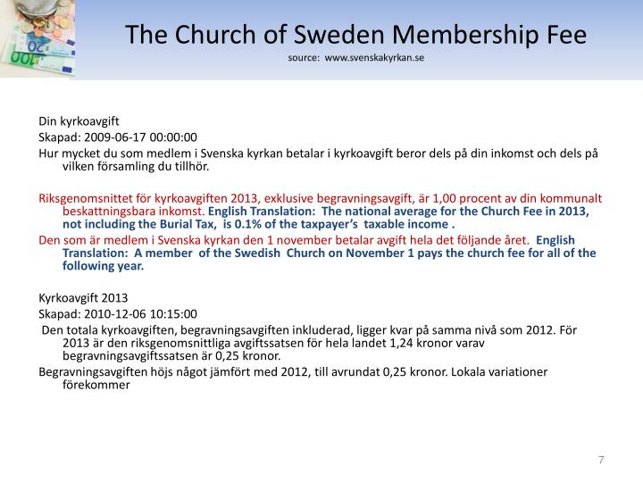 The Church of Sweden Membership Fee