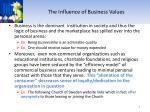 the influence of business values