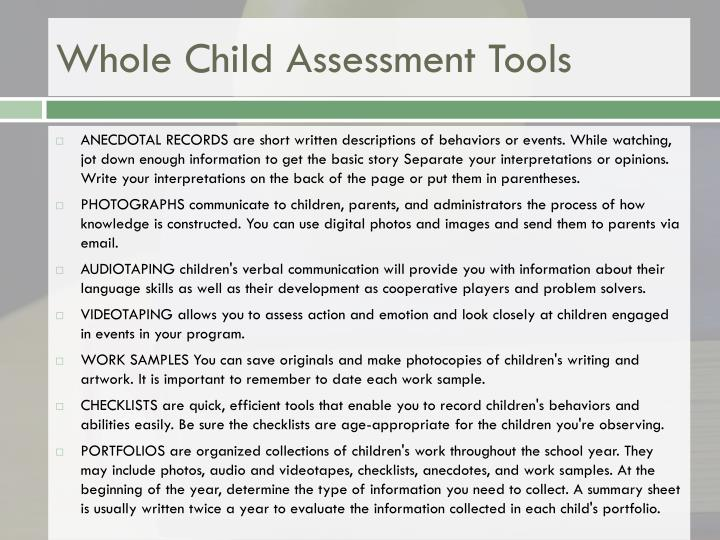 Whole Child Assessment Tools