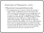 overview of research cont