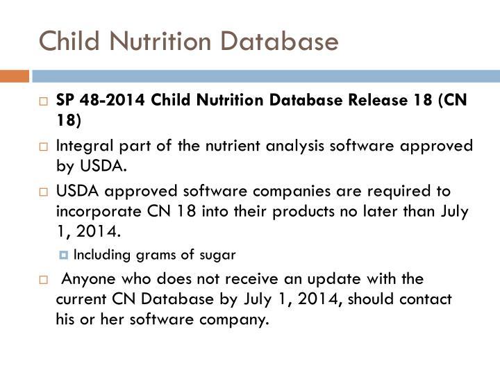 Child Nutrition Database