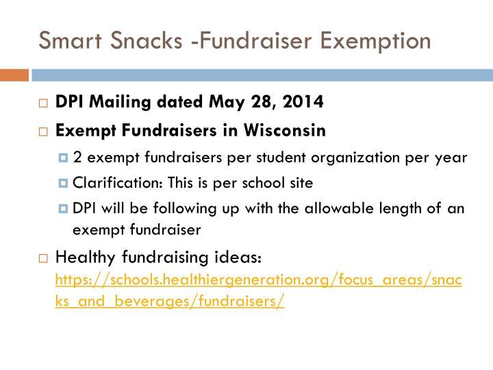 Smart Snacks -Fundraiser Exemption