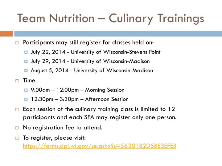 Team Nutrition – Culinary Trainings