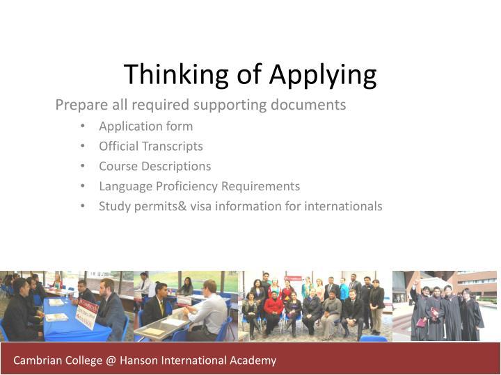 Thinking of Applying
