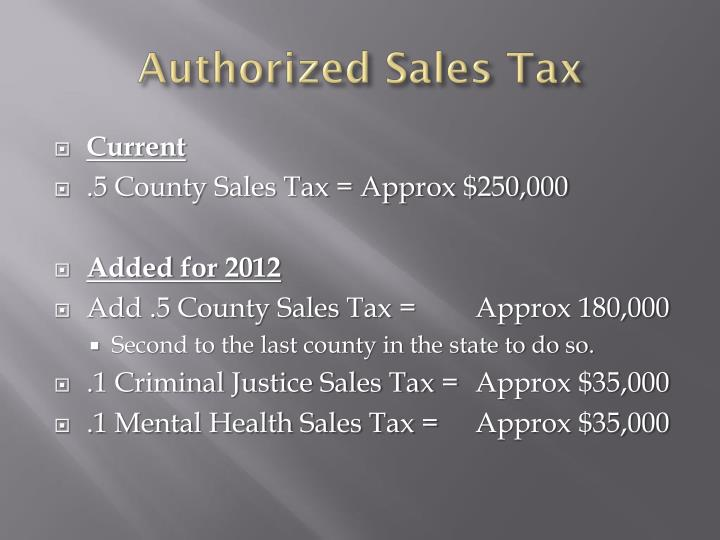 Authorized Sales Tax